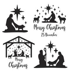Birth christ scene vector