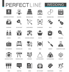 black classic web wedding marriage icons set vector image