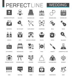 black classic web wedding marriage icons set vector image