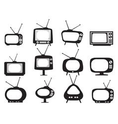 black retro tv icons set vector image