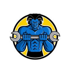 Blue muscular monster wrench mascot vector