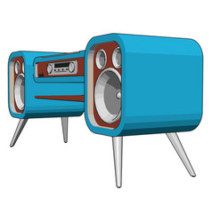 blue old sound system on white background vector image