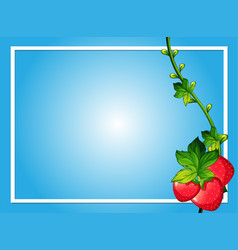 Border template with red strawberries vector