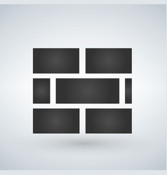 Brick wall icon solid pictogram isolated on white vector