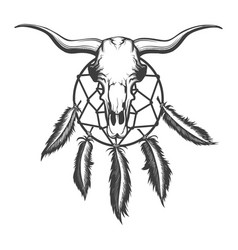 bull skull and dream catcher tattoo vector image