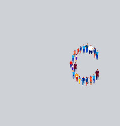 business people crowd forming shape letter c vector image