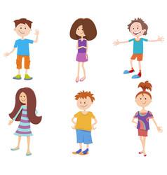 Cartoon happy kids ant teens characters set vector