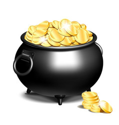cauldron or a black pot full of gold coins vector image