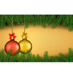 Christmas background with gift balls and fir vector image vector image