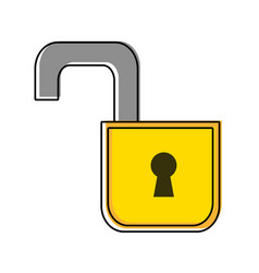 color security open padlock object protection vector image