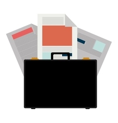 Colorful briefcase and documents office vector
