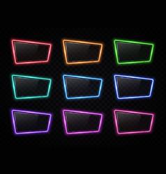 colorful neon frame set on transparent background vector image