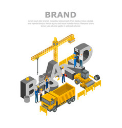 construction brand concept background isometric vector image