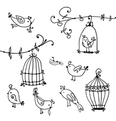 cute birds and branches trees with birds cages vector image