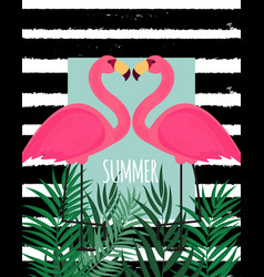 Cute pink flamingo summer background vector