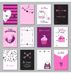 Cute Valentines Day and Love Set - Set of Tags vector