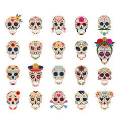 Day dead skulls dia de los muertos vector