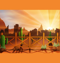 Desert landscape with cactuses vector
