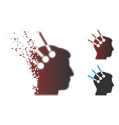 Dispersed pixel halftone neural interface icon vector