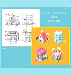 Drawing of buildings in flat style and isometric vector