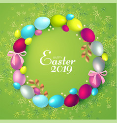 easter wreath with realistic colorfull eggs gold vector image