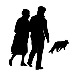 elderly couple with a cat vector image