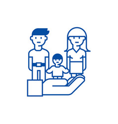 Family life protectioninsurance line icon concept vector