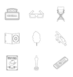 Films and cinema set icons in outline style Big vector