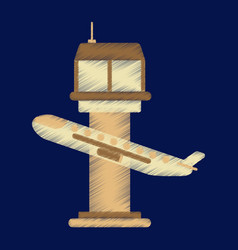 flat icon in shading style plane takeoff airport vector image