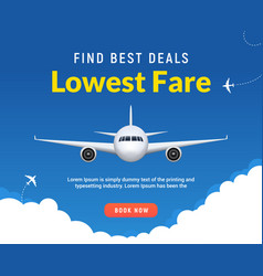 flight travel trip banner for online booking vector image