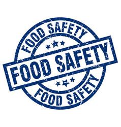 Food safety blue round grunge stamp vector