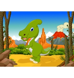funny Parasaurolophus cartoon with volcano vector image