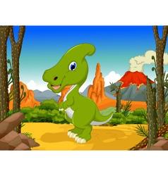 Funny Parasaurolophus cartoon with volcano vector