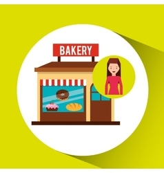 Girl bakery shopping gift buying vector