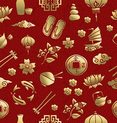 Gold asia culture icon seamless pattern chinese vector