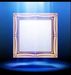 Gold classic square frame in blue light vector