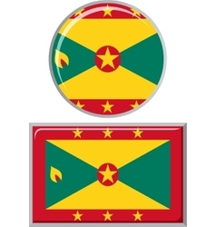 Grenada round and square icon flag vector image