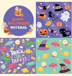 halloween pattern swatches set vector image vector image