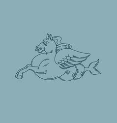 Hand drawn antique hippocampus creative tattoo vector