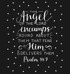 Hand lettering with bible verse angel of the lord vector
