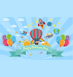 happy childrens day poster with kids and toys vector image