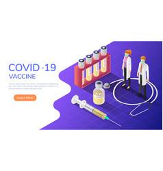 isometric web banner doctors wearing medical mask vector image