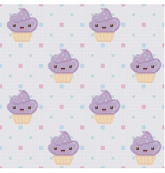 knitted seamless pattern with cupcakes on white vector image