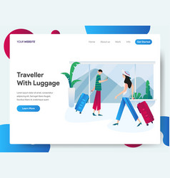 landing page template traveller with luggage vector image