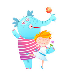 Little girl and pet elephant dancing friends vector