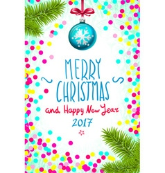 Merry Christmas and Happy New Year 2017 greeting vector