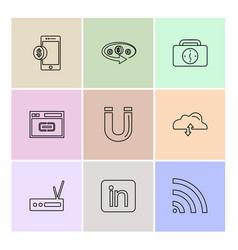 Mobile tine breifcase magnet cloud upload vector