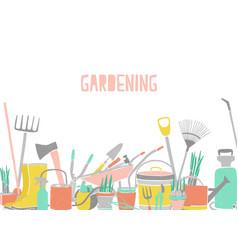 modern horizontal backdrop with gardening tools at vector image