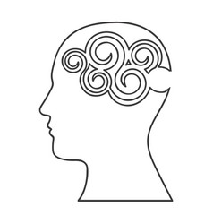 monochrome silhouette with human head with vector image