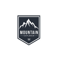 mountain explorer adventure black and white vector image